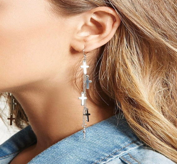 Multi 5 Cross Silver Chain Earrings Dangle Wedding Sideways Cross of Jesus Jewelry for Woman Jewellery for Girls