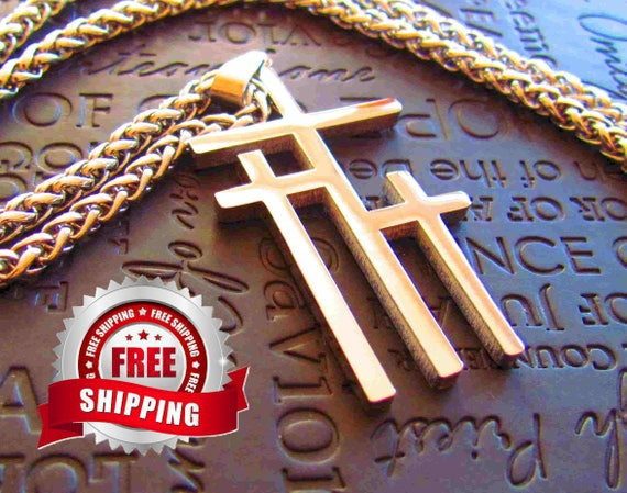 Silver Necklaces for Men 3 Crosses of Calvary Large Pendant for Men Boys Heavy Braided Chain Cross of Jesus Jewelry jewellery
