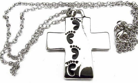 Stunning Silver Jesus Footprints Cross Necklace Chain