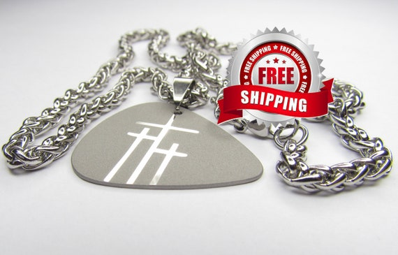 Guitar Pick Necklace Silver 3 Crosses of Calvary Triple Crosses Pendant Heavy Chain Mens Boys Christian Jewelry jewellery