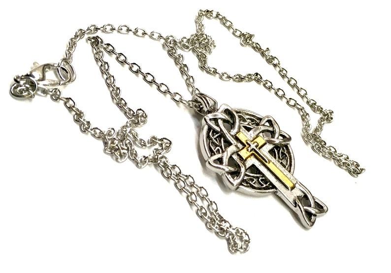 Irish Celtic Knot 3 Layer Cross Silver Necklace Petite Celtic image 0
