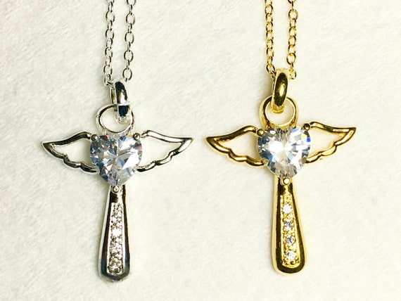 Silver Gold Angel Wing Cross Rhinestine Design Jesus Pendants Women Necklace Christian Jewelry