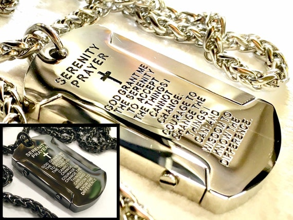 Heavy Silver Black Serenity Prayer Necklace Dog Tag Super Thick with Chain Crazy Design Pendant for Mens Boys Christian Jewelry Jewellery