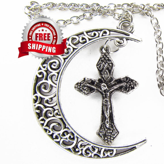 Silver Vintage Moon Cross Necklace Bohemian Style Filagree Woman Girls Jewelry Jewellery