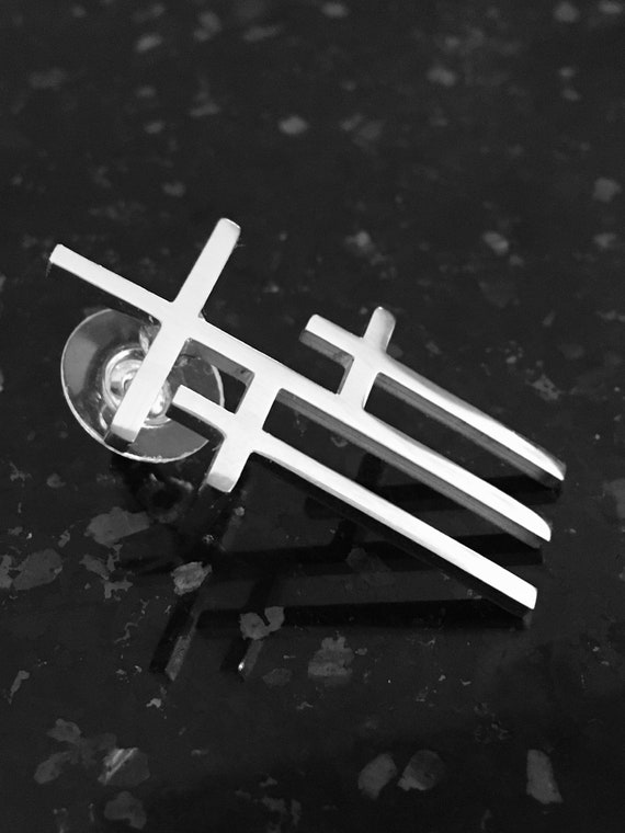 Cross Pin 3 Crosses of Calvary Gol Silver Triple Cross Hat Pin Shirt Collar Mens Boys Women Girls Fashion Christian Jewelry jewellery