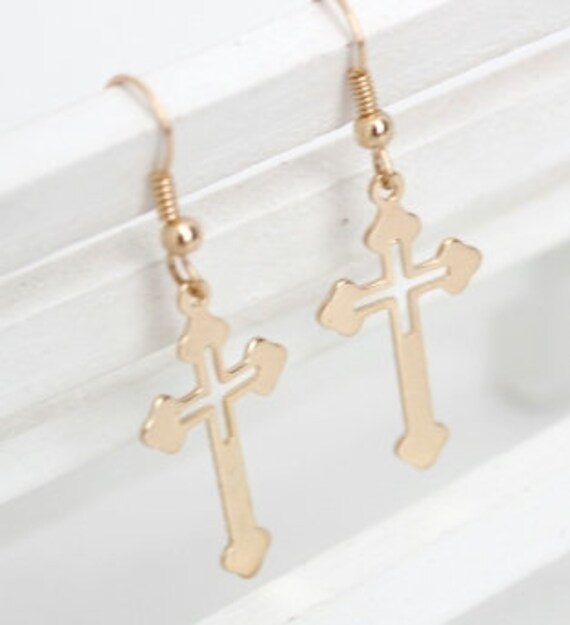 Gold Cross Dangle Earrings Super Light Weight Cross Cut Out Drop Elegant Womens jewelry girls jewellery