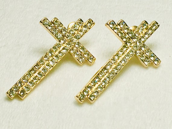 Gold Rhinestone Double Offset Rows Cross Stud Earring Dangle Women Girls Weddings