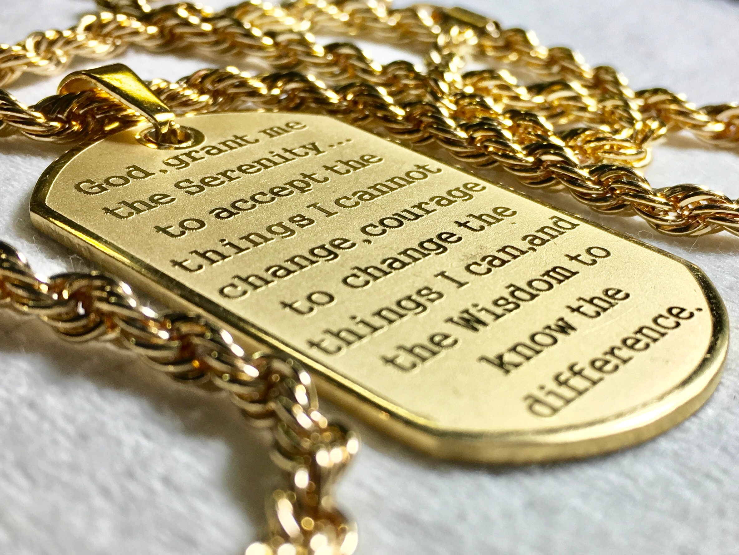 c27f59c7a585 Raised Lettering Serenity Prayer Necklace Dog Tag Silver Gold Thick ...
