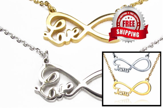 Jesus and Love Infinity Necklace Gold Silver Pendant Necklace Women Girls Christian Jewelry - Saint Michaels Jewelry - Calvary Three Cross