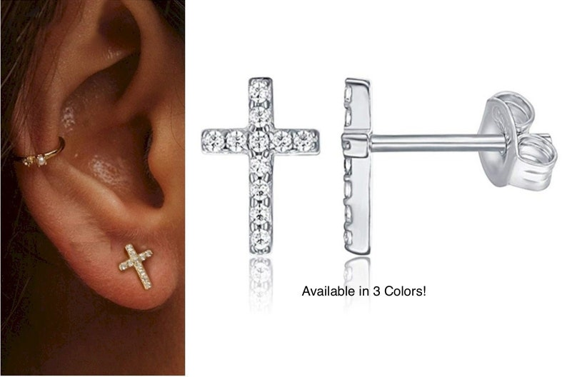 Sterling Silver Cross Earrings Stud Super Tiny Dainty Petite image 0