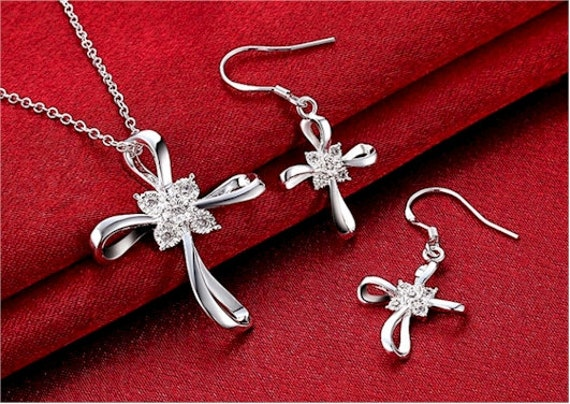 Infinity Cross Necklace and Earrings Silver Swirl Infinity Cross Pendant Inset CZ Crystal Rhinestones Drop Dangle Hope Wedding Set jewellery