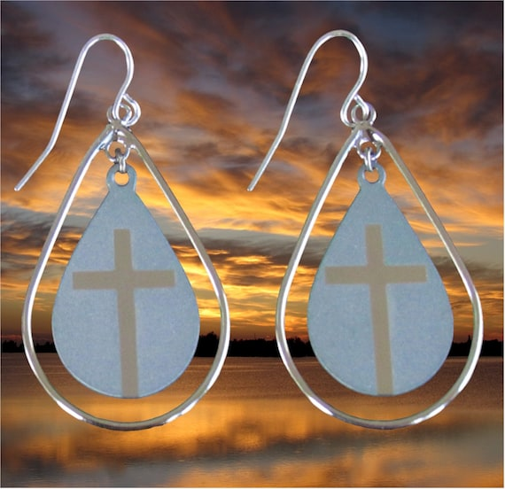 Silver Small Teardrop Cross Hoop Earrings Dangle Drop Womens Girls Christian Jewelry - Saint Michaels Jewelry