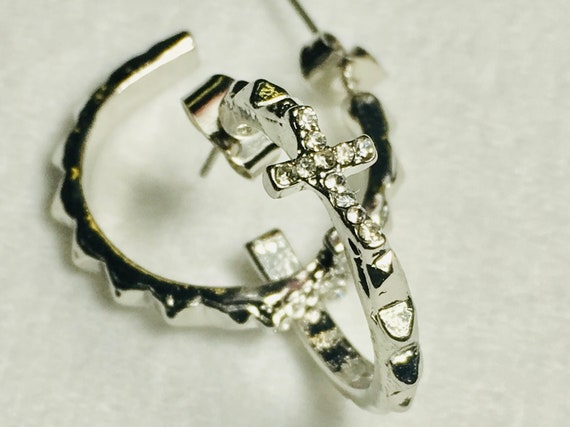 Silver Hoop Stud Earrings with Set Off Classic Rhinestone Crosses Christian Jewelry Modern Womans Girls