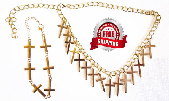 Gold Multi Cross Necklace Matching Sideways Cross Bracelet Set Womans Girls Christian Jewlery - Saint Michaels Jewelry
