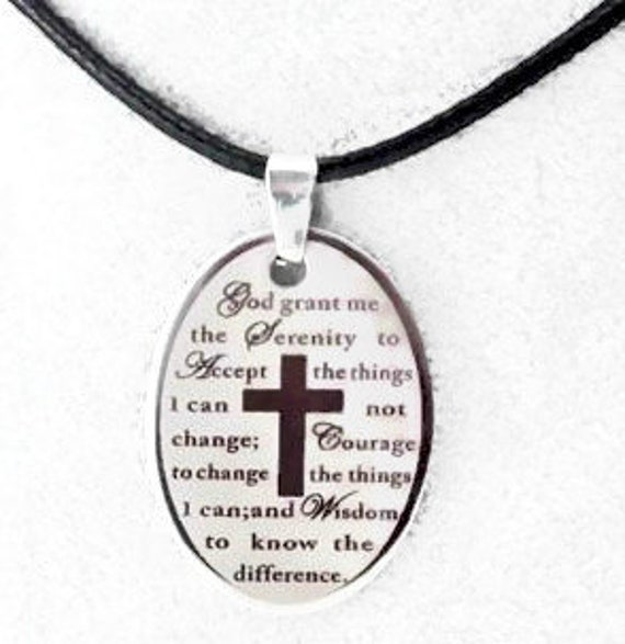 Silver Serenity Prayer Necklace Etched Oval Cross Necklace for Men Woman Stainless Steel Chain Cross of Christ Christian Jewelry jewellery