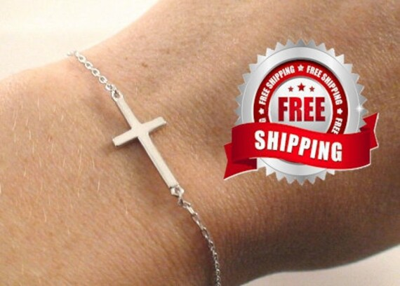 Sideways Cross Bracelet Gold Sterling Silver Meaning of Sideways Cross Bracelet Cross of Christ Bracelet for Women Girls Jewelry Jewellery