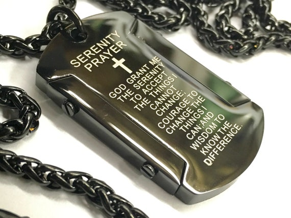 Black Silver Serenity Prayer Necklace Dog Tag Super Thick with Chain Crazy Design Pendant for Mens Boys Christian Jewelry Jewellery