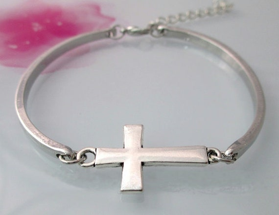 Cross Bracelet Girls Silver Bangles Women 3 Piece Cuff Cross of Jesus Cross Wrap Jewelry Jewellery