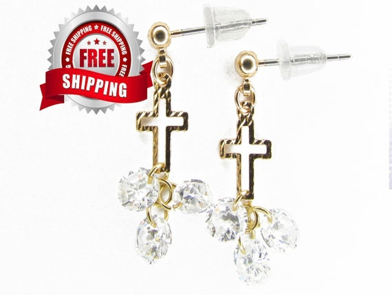 Tiny Gold Hammered Hollow Cross Stud Earring Small Dangle Zircons Women Girls Weddings - Saint Michaels Jewelry