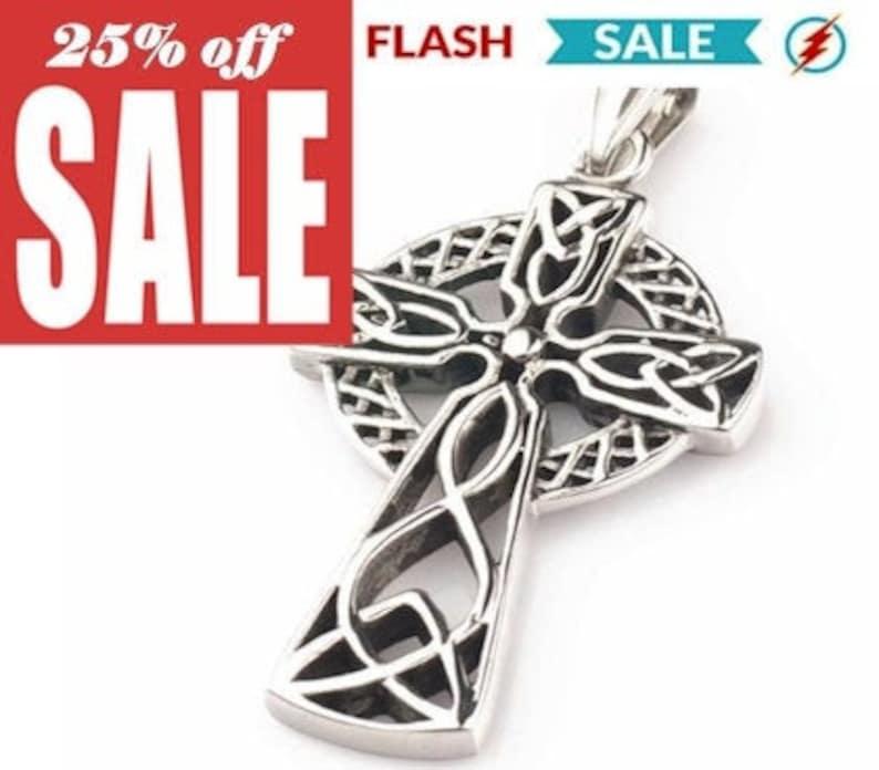Silver Cross Necklace Celtic Irish Knot Crucifix Super Thick image 0