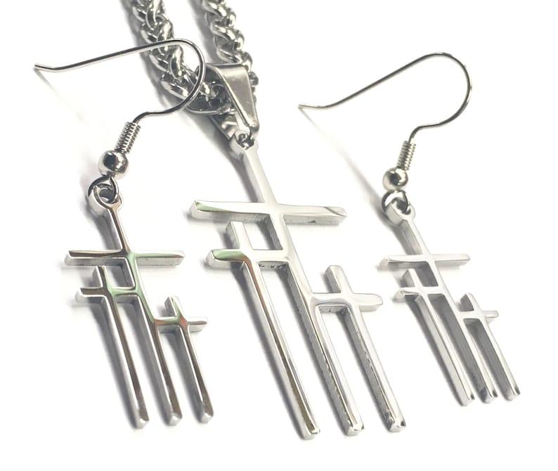 3 Crosses of Calvary Silver Cross Earrings Necklace Medium image 0