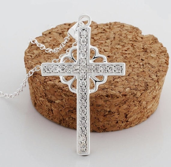 Irish Celtic Cross Necklace Rhinestone Studded Pendant for Women Cast Viking Jewelry with Rope Chain Jewellery for Girls
