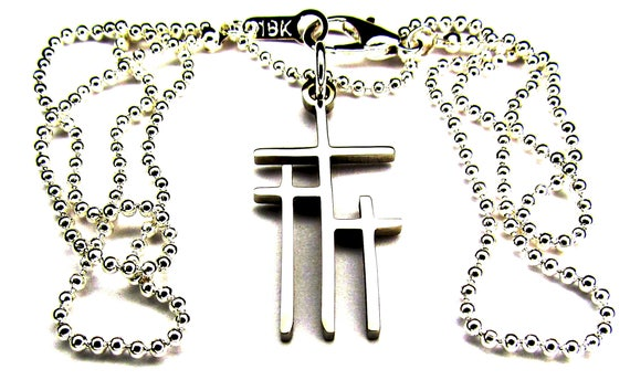 Petite Calvary 3 Cross Necklace Pendant Earrings Silver Gold Womans Girls Christian Jewelry - Saint Michaels Jewelry - Calvary Three Cross