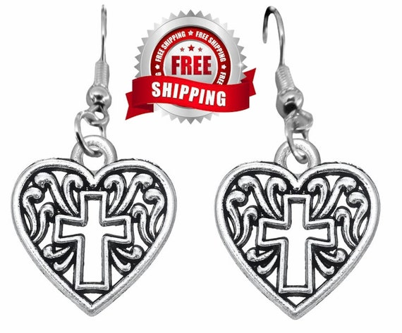 Silver Heart Dangle Earrings Necklace Hollow Cross Filigree Cast Pendant Woman Girls Christian Jewelry Jewellery