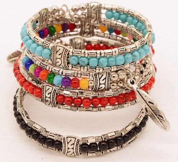 Bracelet Bangle Colored Beads Silver Feather Charm Stretch Boho Hippie jewelry for Women Girls Cuff jewellery