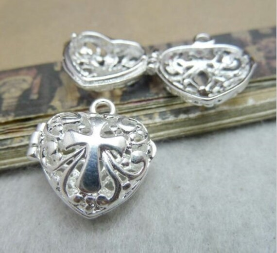 Silver Filigree Cross Heart Cast Locket for Perfume Necklace Pendant