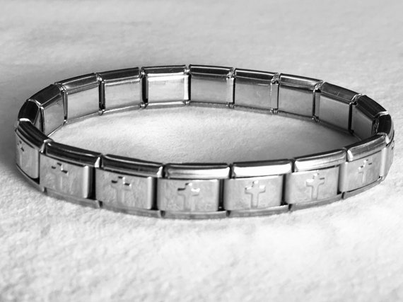 Stretch Cross Bracelet All Stainless Steel Christian Jewelry