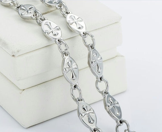 Silver Oval Raised Cross Link Chain Necklace and Bracelet Fabulous Raised Cross of Christ Heavy Stainless Steel Chain