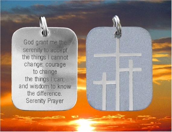 Silver Calvary 3 Three Triple Cross Serenity Prayer Dogtag Necklace Pendant Womens Mens Christian Jewelry Three Crosses on Calvary