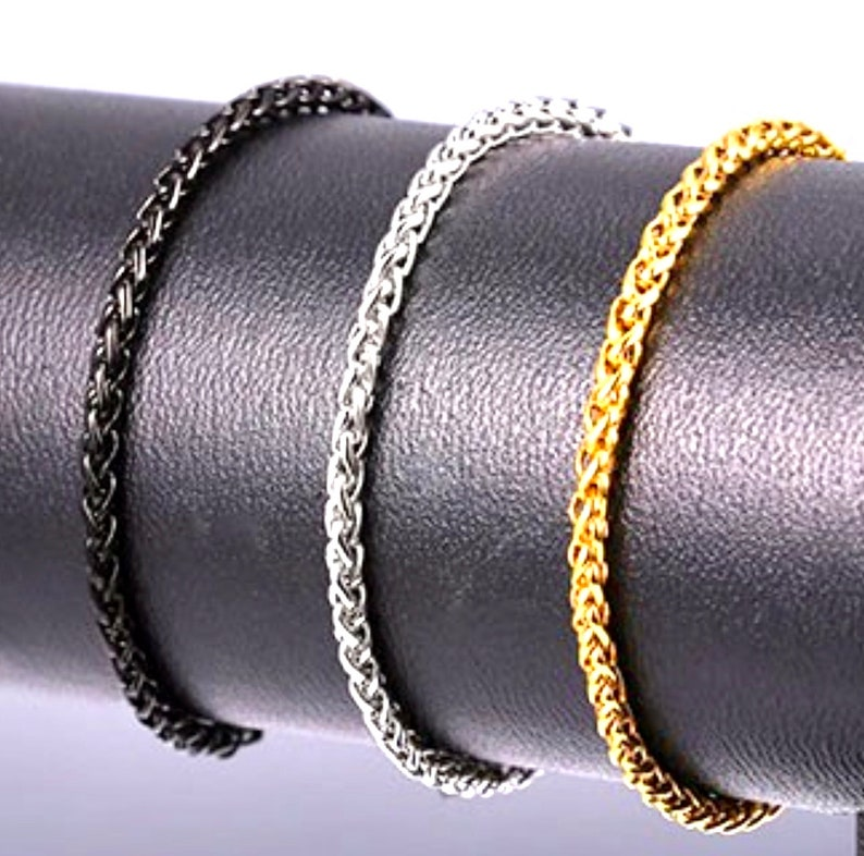BRACELET Silver Gold Black Stainless Steel Thick Chain Wheat image 0