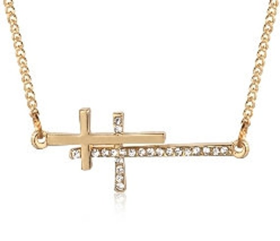 Sideways Cross Necklace Gold Silver Dainty Double Crosses Rhinestone Cross Pendant Jewellery Cross of Jesus Jewelry