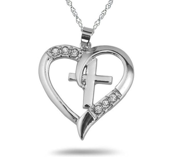 Silver Heart Cross Necklace Crystal Rhinestones CZ Look Petite Interior Cross Jewelry for Woman Jewellery for Girls