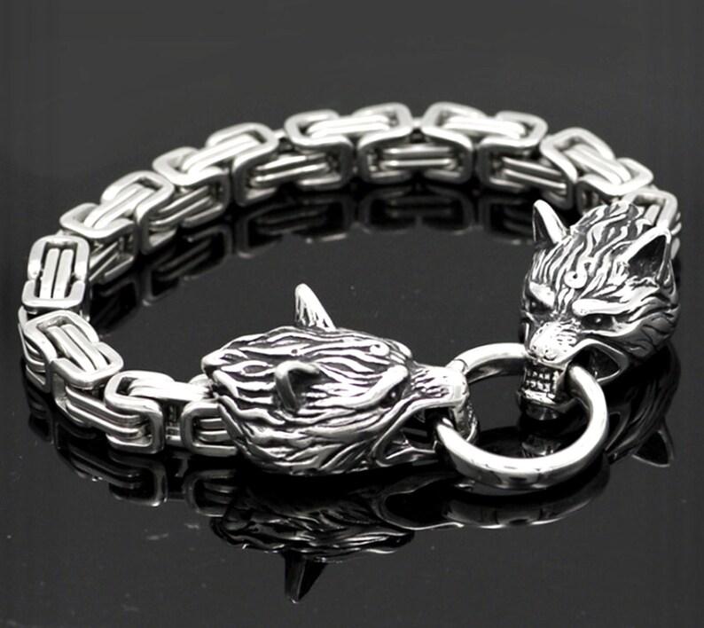 Wolf Head Bracelet Celtic Cross Viking Irish Knot Crucifix image 0