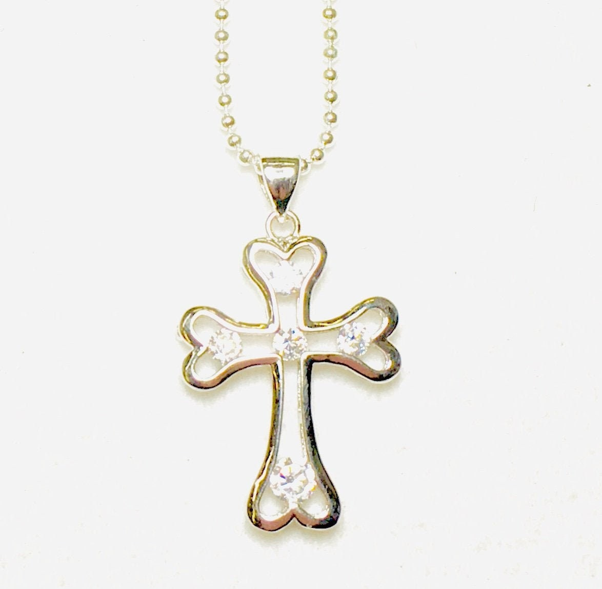 Women Crystal Rhinestone Silver Plated Cross Pendant Necklace Chain Jewelry