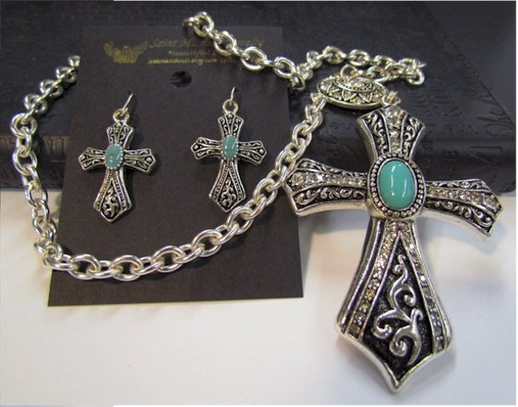 CLOSEOUT 10 Sets - Lot Price - Vintage Elegant Style Cross 1 and 2 Piece Necklace Earring Sets Crystal Drop Dangle