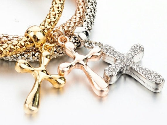 3 Cross Bracelets Stretch Bangles Cuff Gold Rose Silver All 3 in Set Cross Charms Crystal Rhinestones Jewellery jewelry