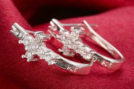 Cross Cuff Earring Sterling Silver Elegant Dainty Sparkling Rhinestones Cast Modern jewellery for Woman Girls Christian Jewelry young girls