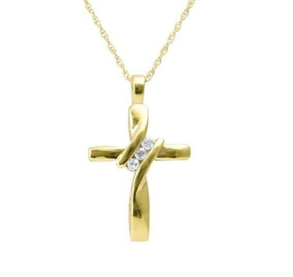 Modern Petite Gold Classic Twist Cross Crystal Rhinestone Necklace Woman Girls Chain Christian Jewelry