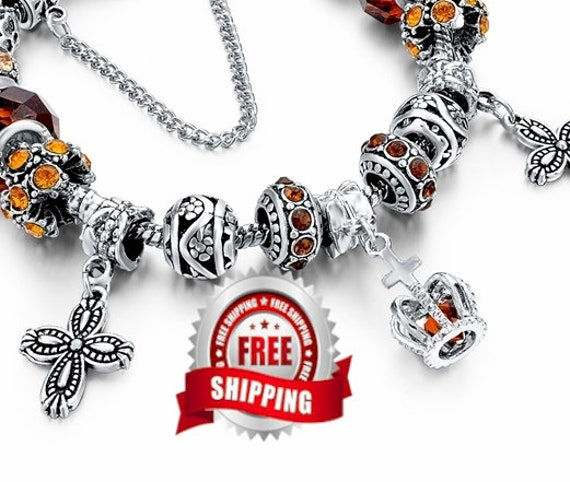 Silver Boho Cross Charm Bracelet Amber Color High Quality Inexpensive Jewelry for Women Jewellery for Girls Christian Jewelry jewellery