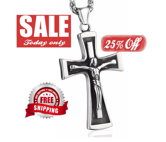 Cross Necklace for Men Crucifix Solid Outline Cast Stainless Steel Silver Black 2 Colors Super Heavy Chain Cross of Jesus Jewelry Jewellery
