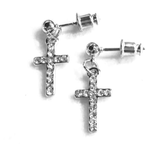 Silver Cross Earrings Dainty Drop Dangle Cross Studs Rhinestone Cast CZ Look Post Design Elegant Womens jewellery Girls jewelry jesus