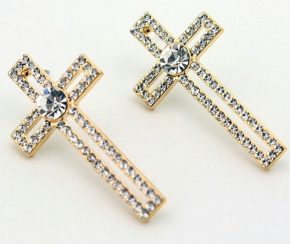 Gold Rhinestone Hollow Cross Stud Earring Dangle Women Girls Weddings