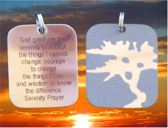Silver Serenity Necklace Prayer Tree of Life Pendant Dog Tag Style for Men Womans Boys Girls Punk Hip Hop Christian Jewelry Jewellery