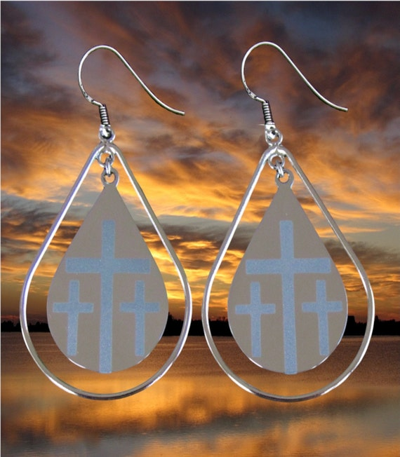 Silver Calvary 3 Cross Teardrop Hoop Earrings Dangle Drop Womans Girls Christian Jewlery - Saint Michaels Jewelry - Calvary Three Cross