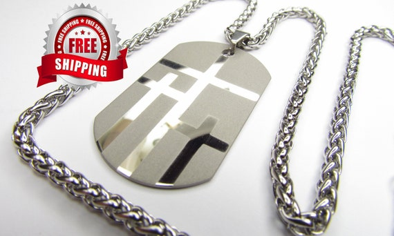Large Silver Calvary Three 3 Cross DogTag Pendant and Stainless Steel Chain Christian Jewelry - Saint Michaels Jewelry - Calvary Three Cross