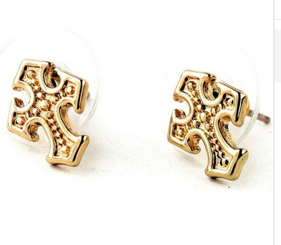 Gold Dainty Cast Cross Earrings Post Stud Elegant Women Girls
